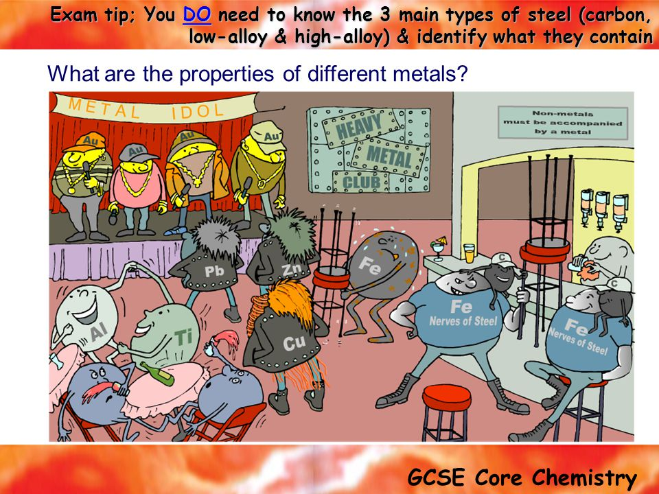 What are the properties of different metals