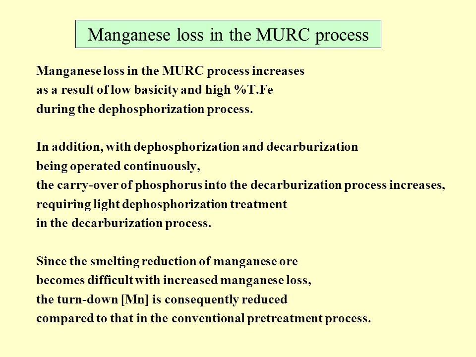 Manganese loss in the MURC process