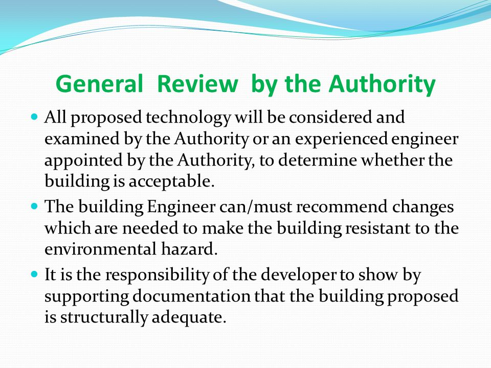 General Review by the Authority