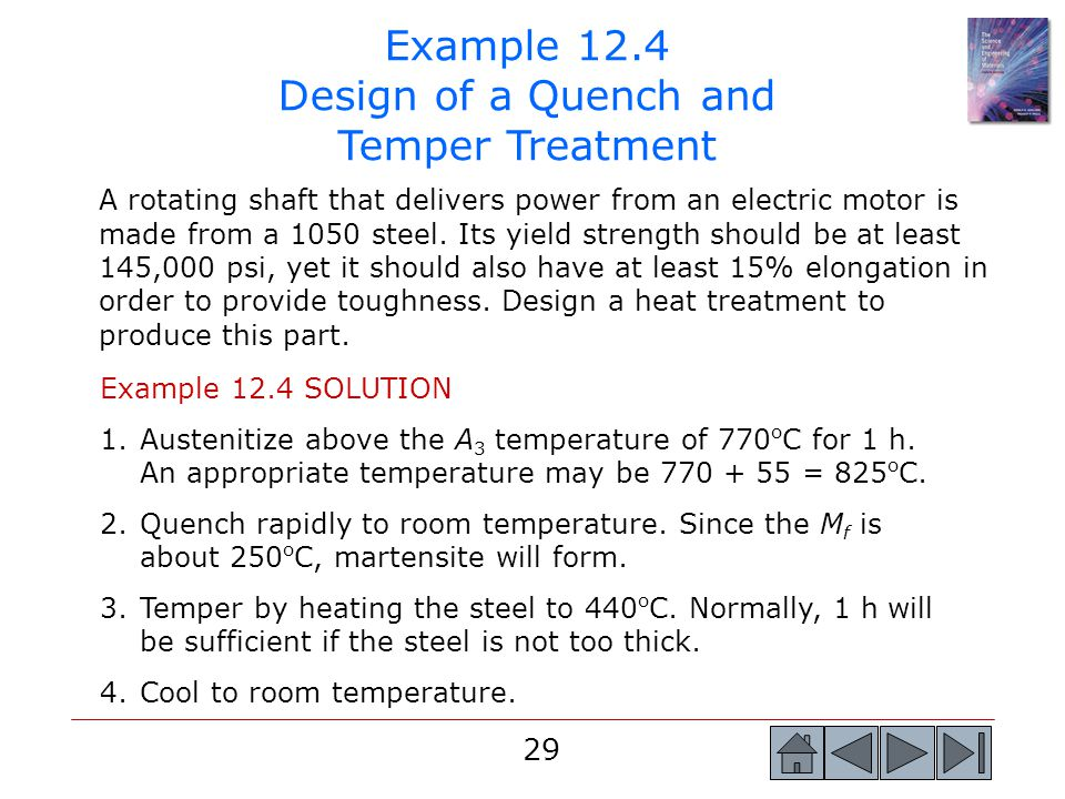 Example 12.4 Design of a Quench and Temper Treatment