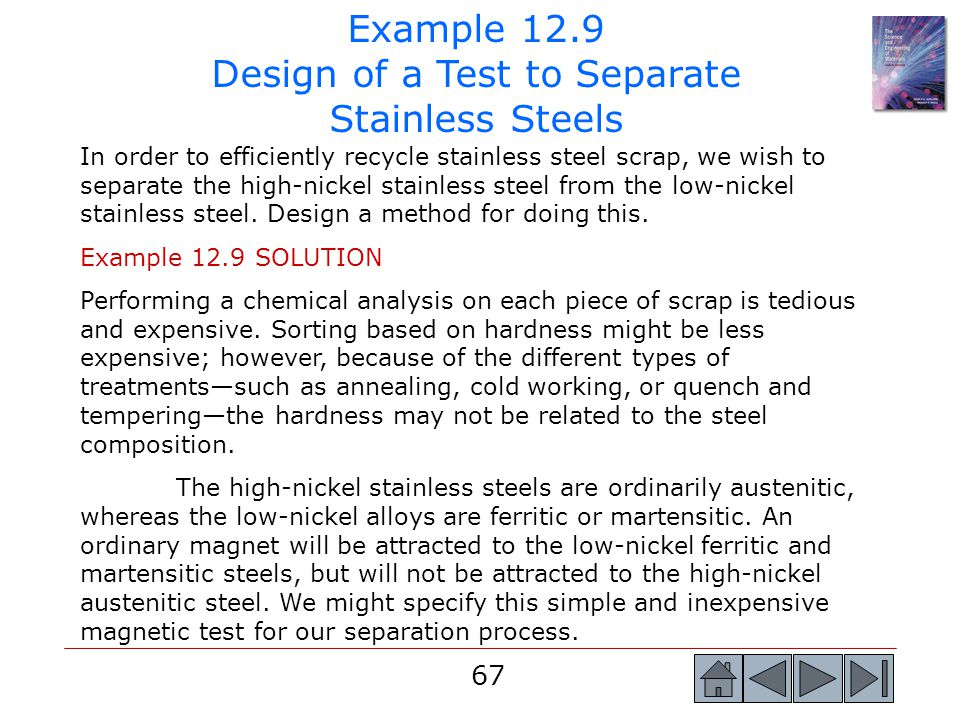 Example 12.9 Design of a Test to Separate Stainless Steels