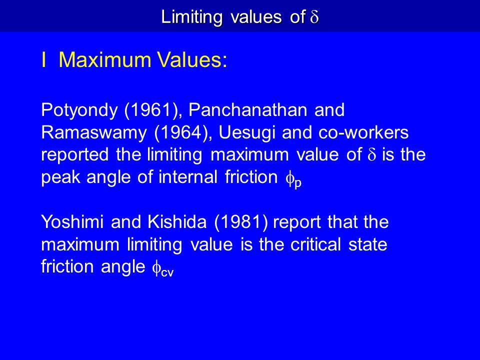 I Maximum Values: Limiting values of d