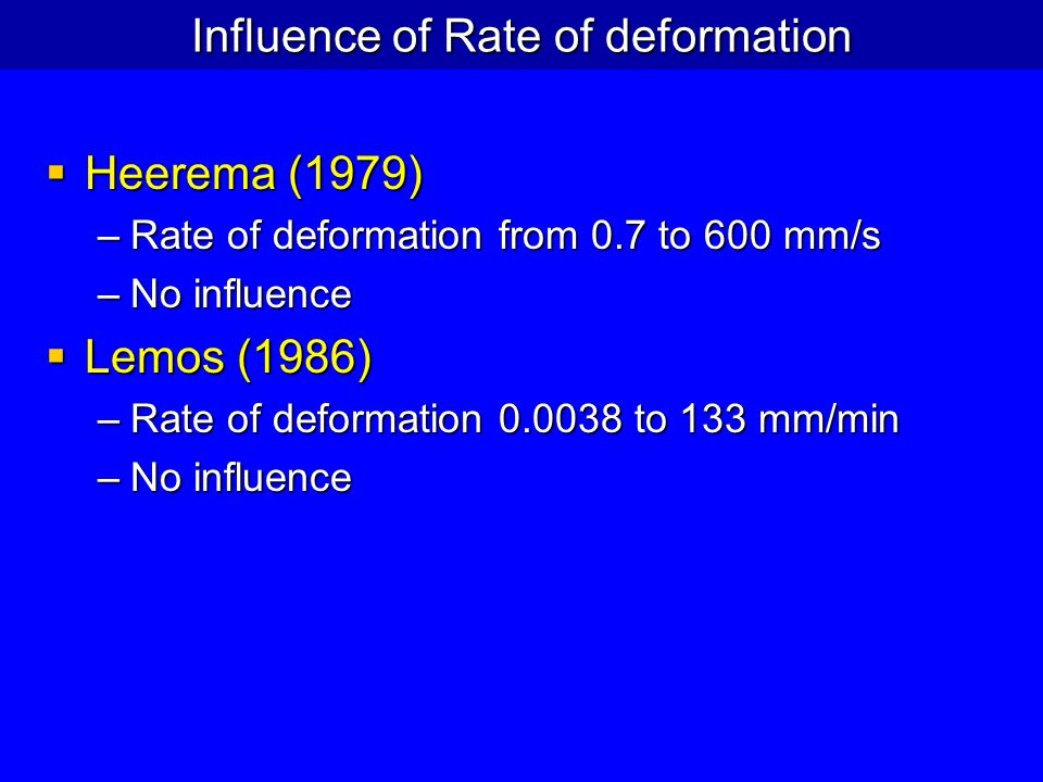 Influence of Rate of deformation