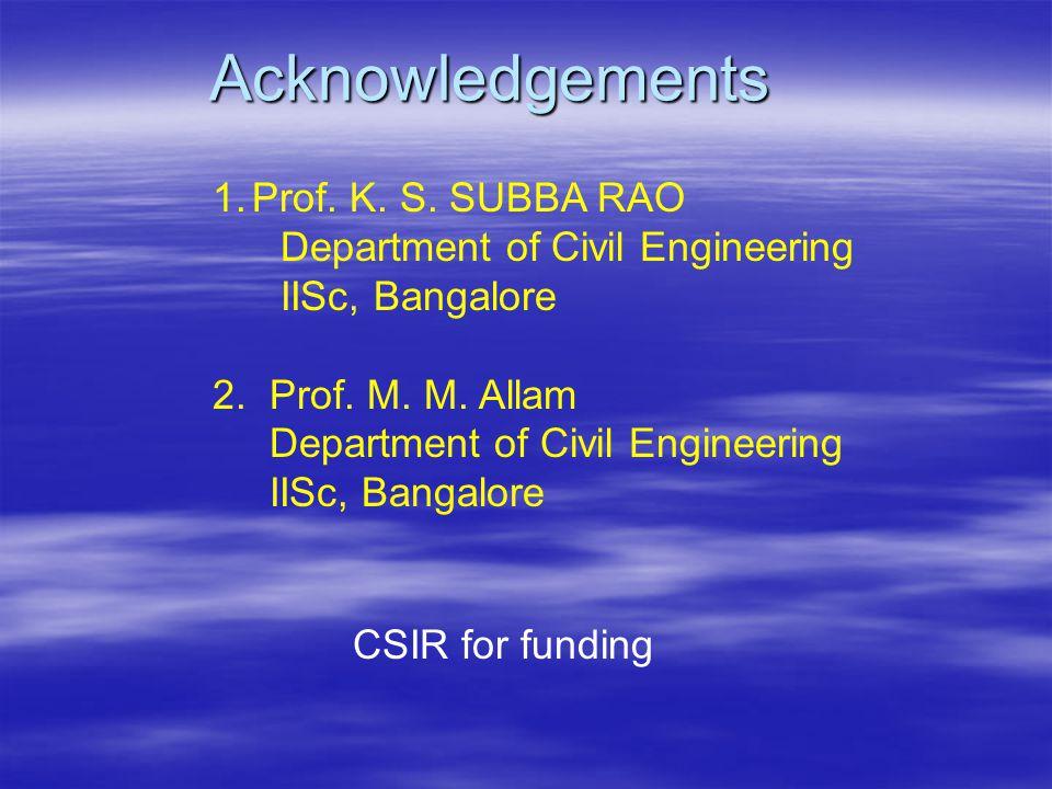 Acknowledgements Prof. K. S. SUBBA RAO Department of Civil Engineering