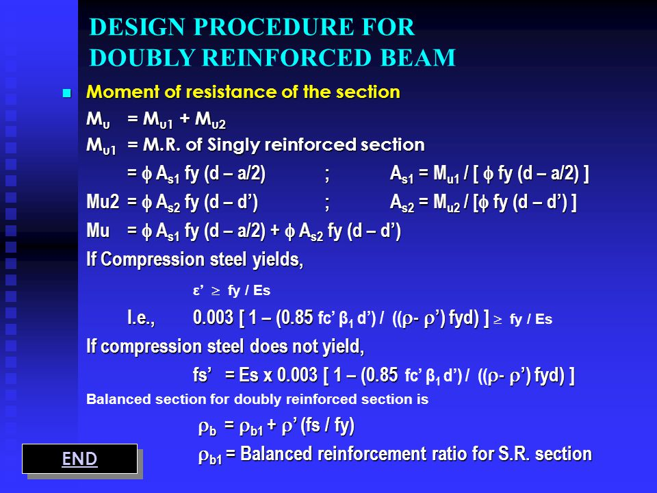 DESIGN PROCEDURE FOR DOUBLY REINFORCED BEAM