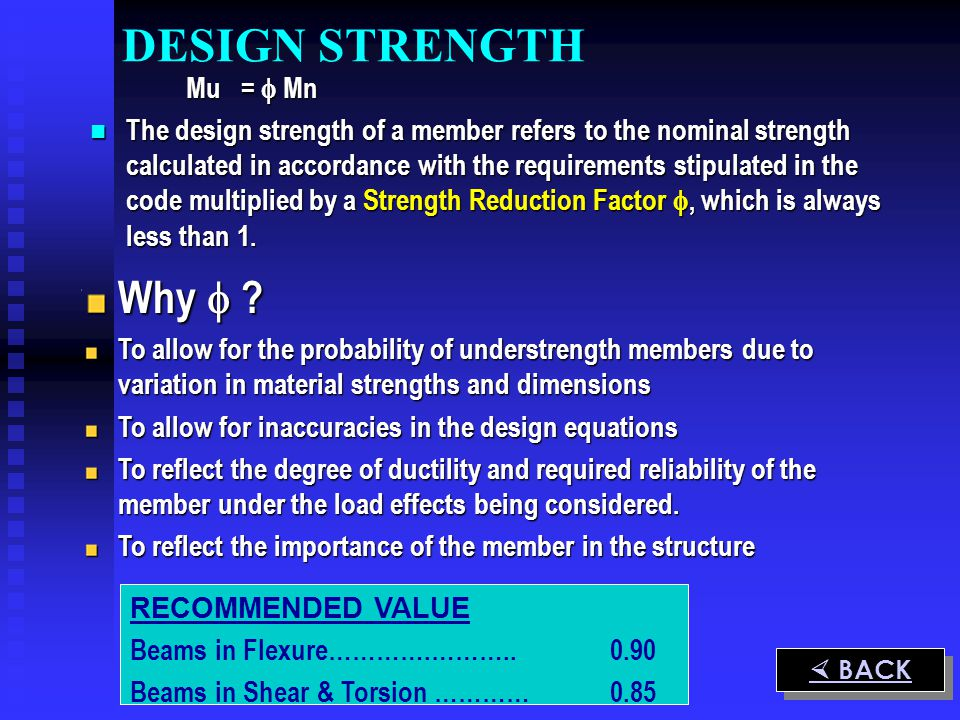 DESIGN STRENGTH Why  Mu =  Mn
