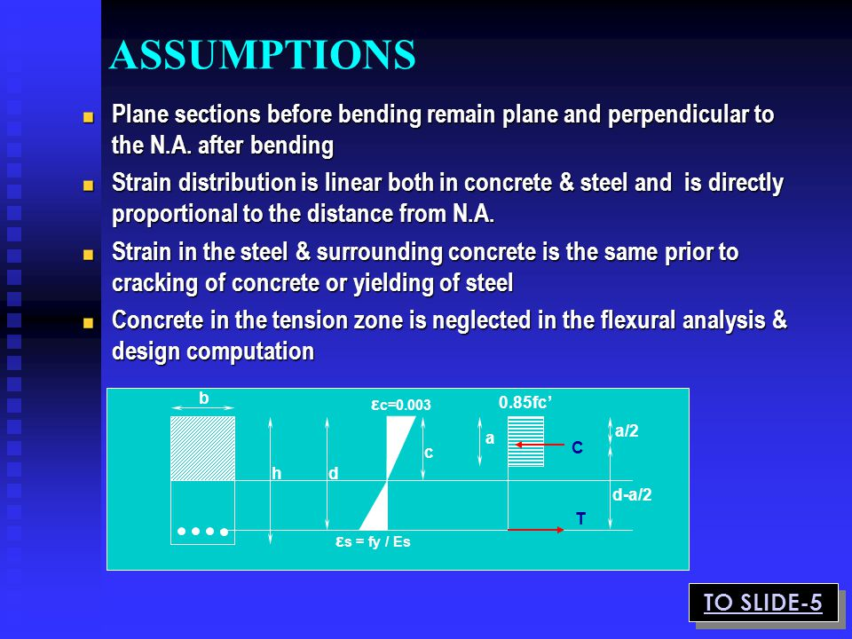 ASSUMPTIONS Plane sections before bending remain plane and perpendicular to the N.A. after bending.