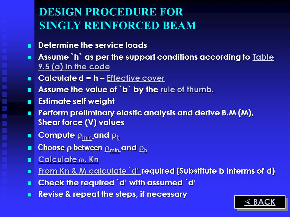 DESIGN PROCEDURE FOR SINGLY REINFORCED BEAM