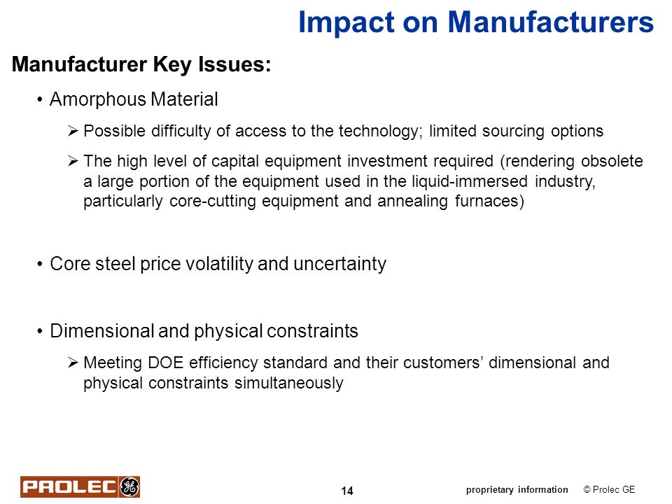 Impact on Manufacturers