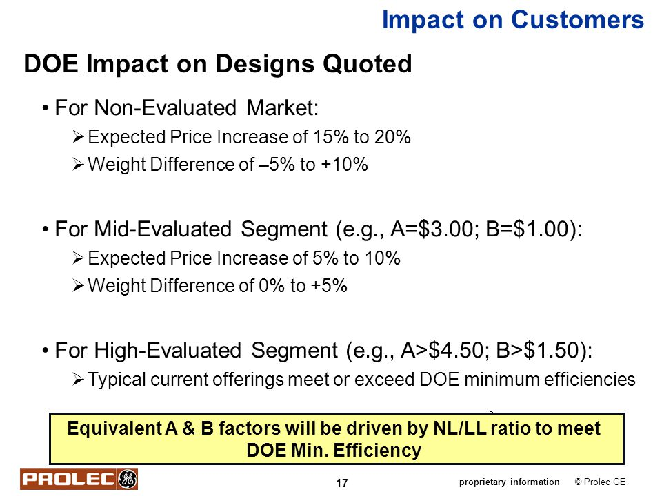 DOE Impact on Designs Quoted
