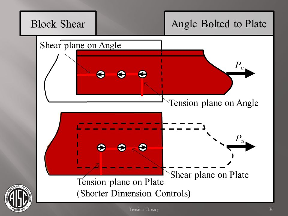 Block Shear Angle Bolted to Plate Shear plane on Angle Pu