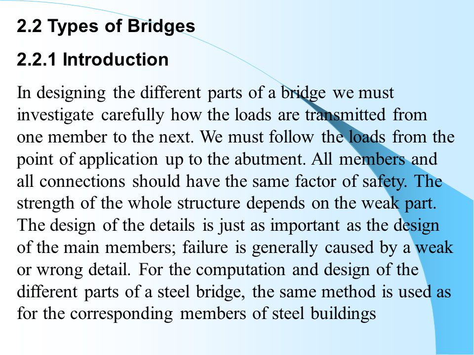 2.2 Types of Bridges 2.2.1 Introduction.