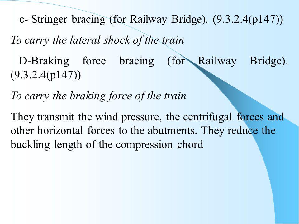 c- Stringer bracing (for Railway Bridge). (9.3.2.4(p147))