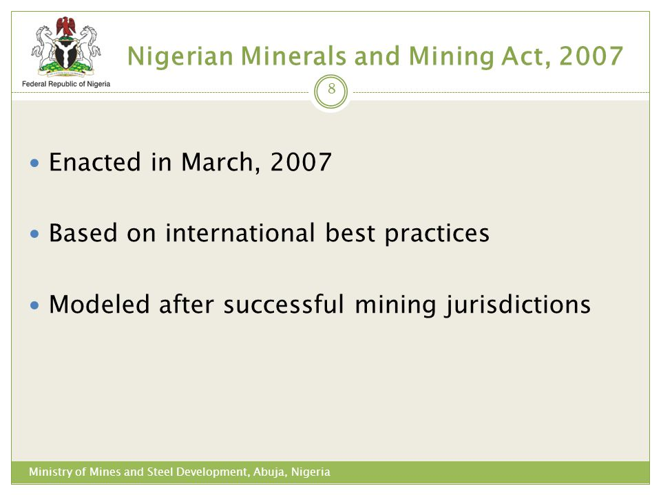 Nigerian Minerals and Mining Act, 2007