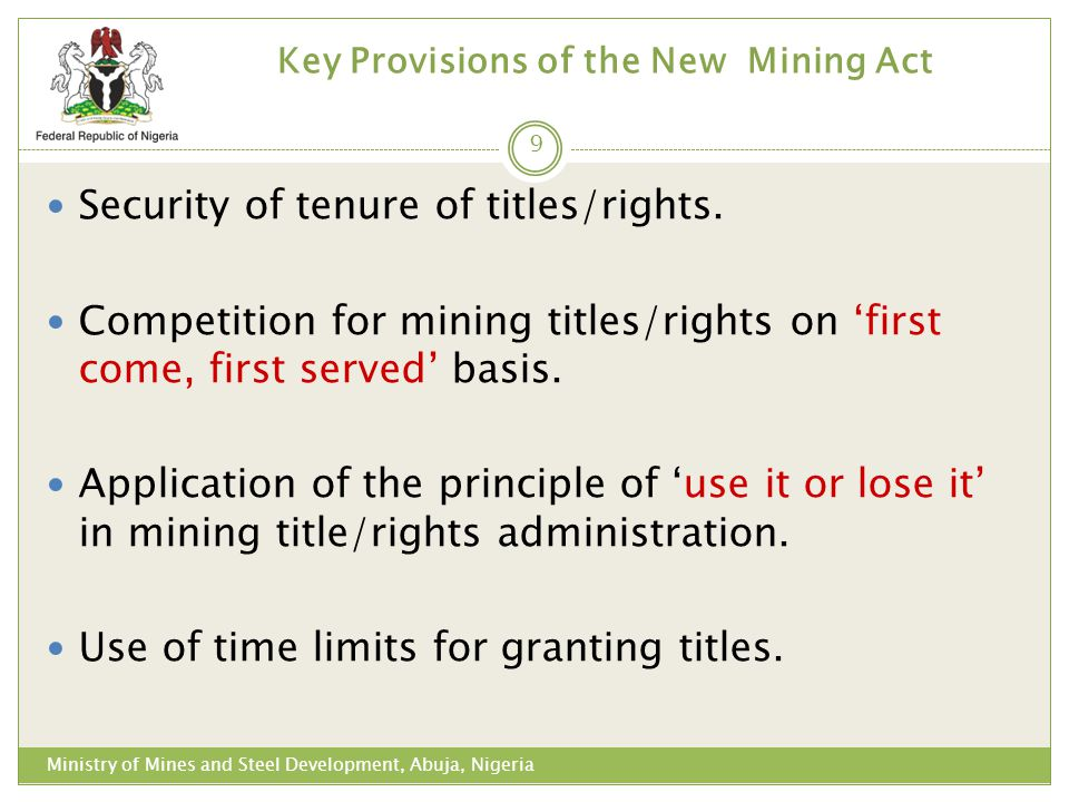 Key Provisions of the New Mining Act
