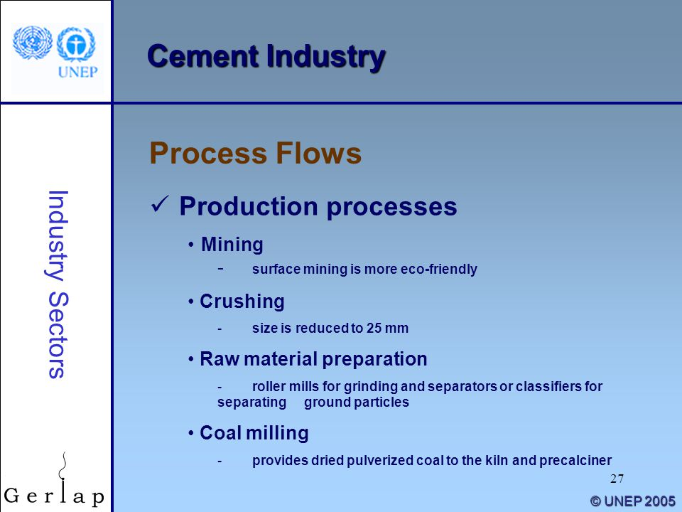Cement Industry Process Flows Production processes Industry Sectors