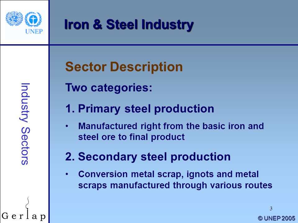 Iron & Steel Industry Sector Description Two categories:
