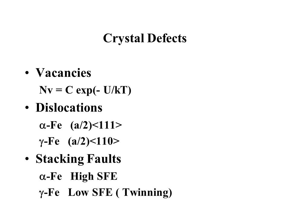 Crystal Defects Vacancies Dislocations Stacking Faults