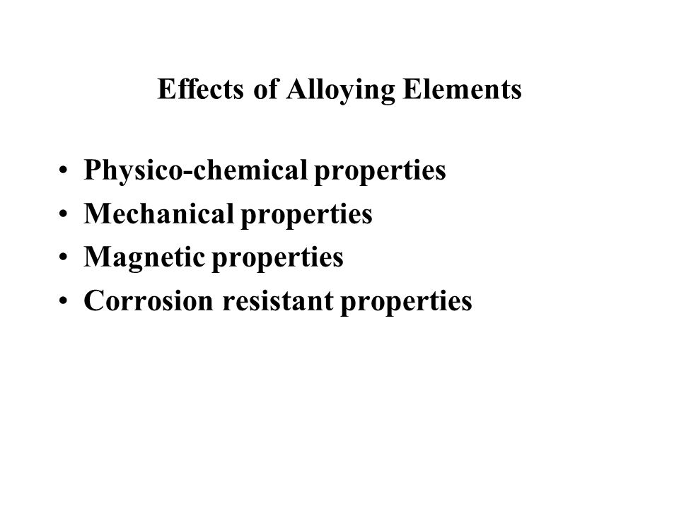 Effects of Alloying Elements
