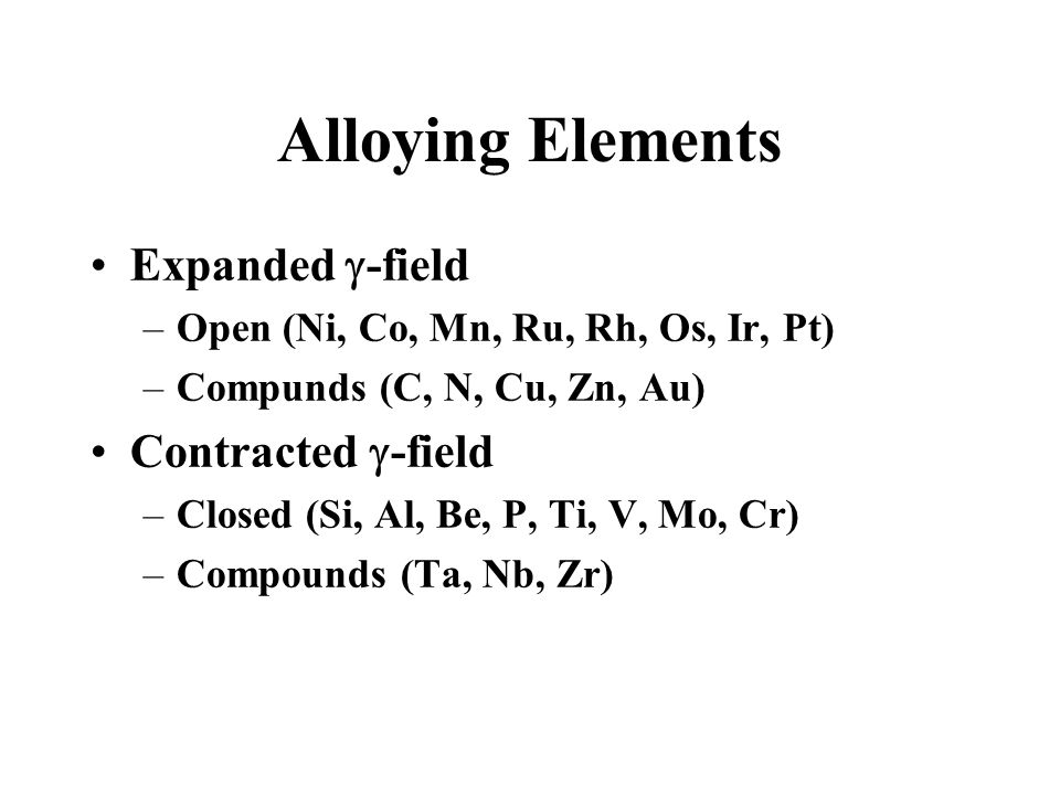 Alloying Elements Expanded -field Contracted -field