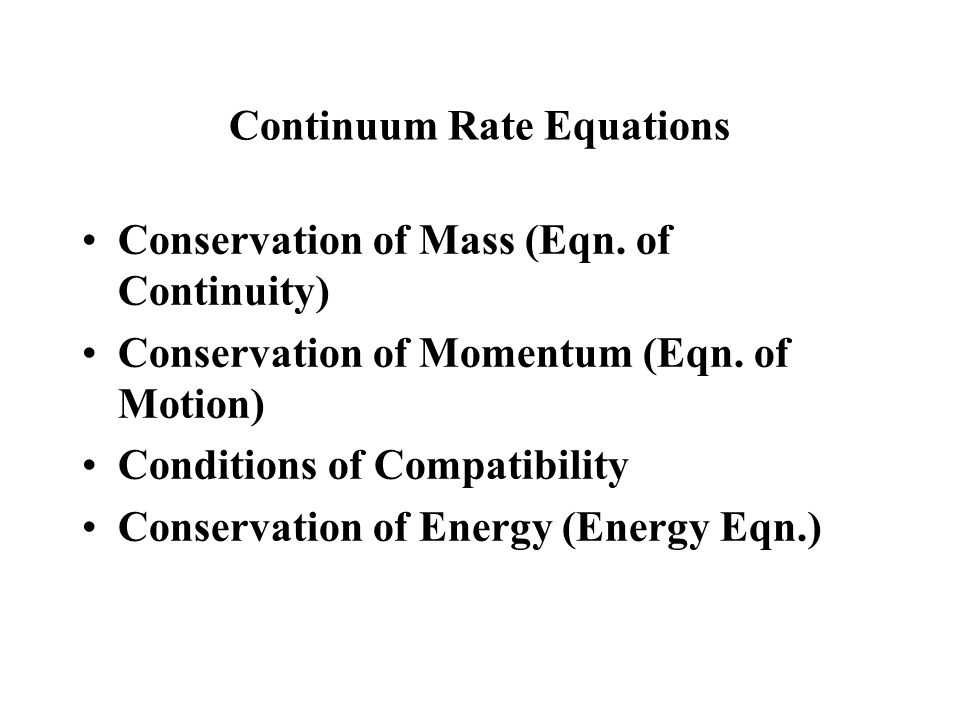 Continuum Rate Equations