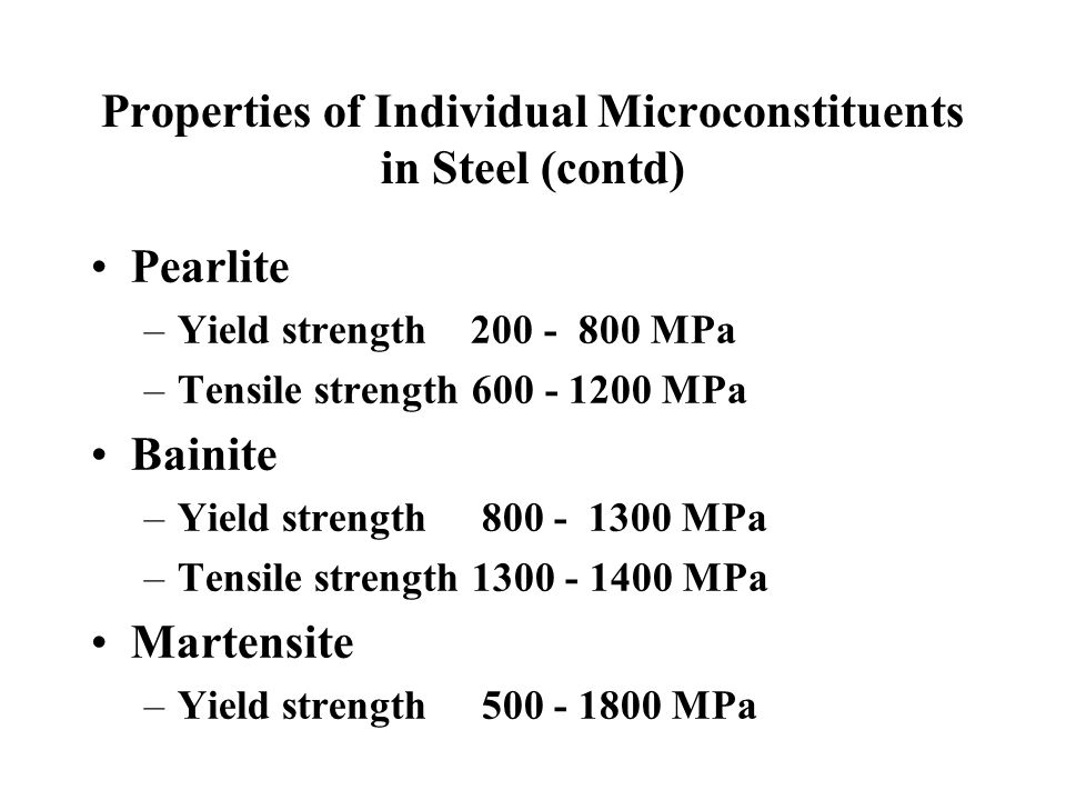 Properties of Individual Microconstituents in Steel (contd)