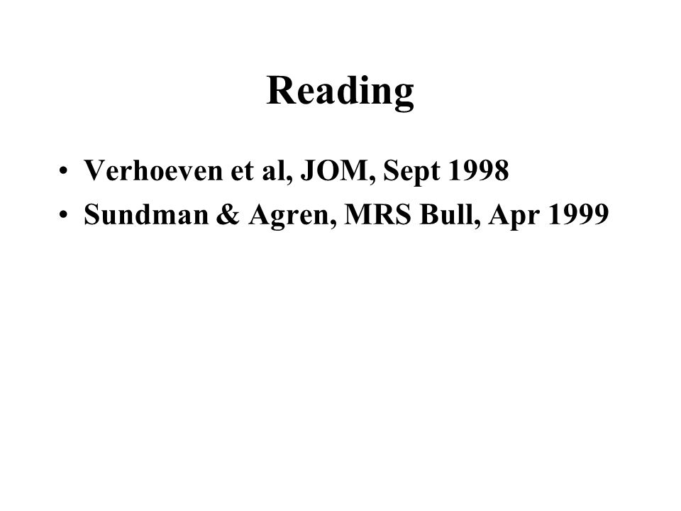 Reading Verhoeven et al, JOM, Sept 1998