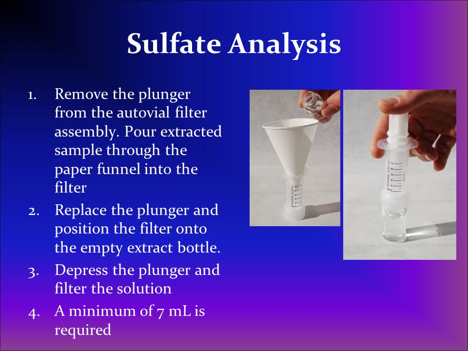Sulfate Analysis Remove the plunger from the autovial filter assembly. Pour extracted sample through the paper funnel into the filter.