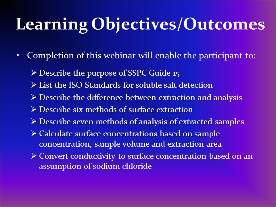 Learning Objectives/Outcomes