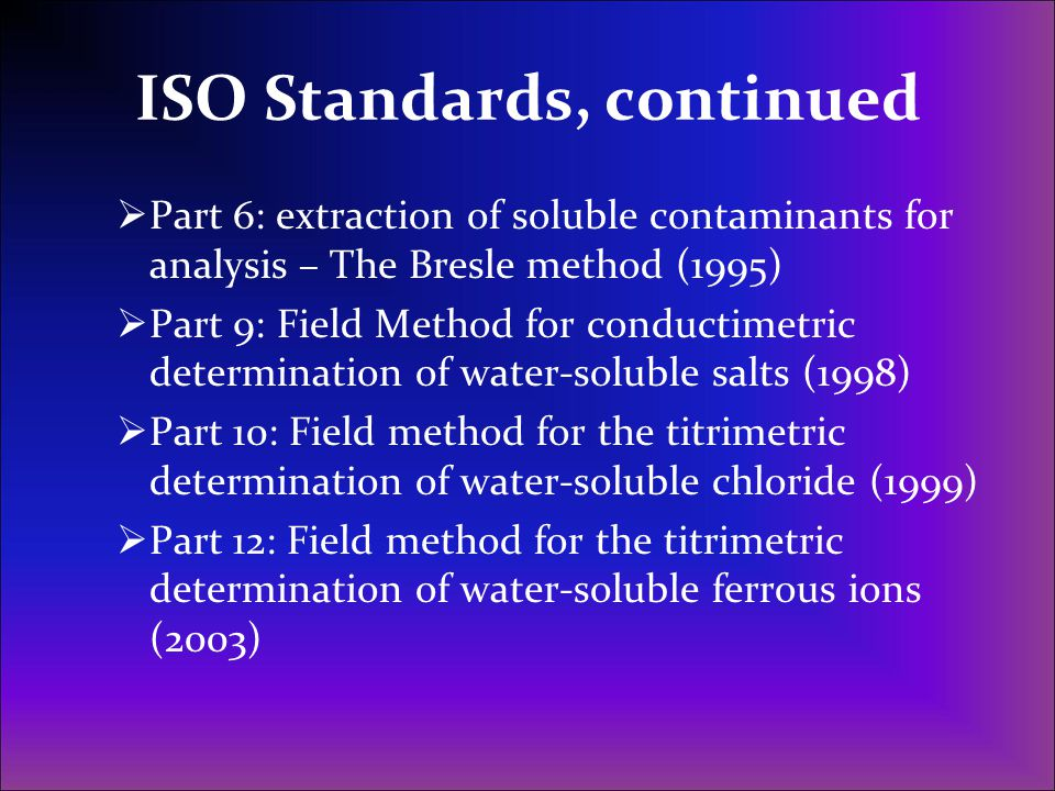 ISO Standards, continued