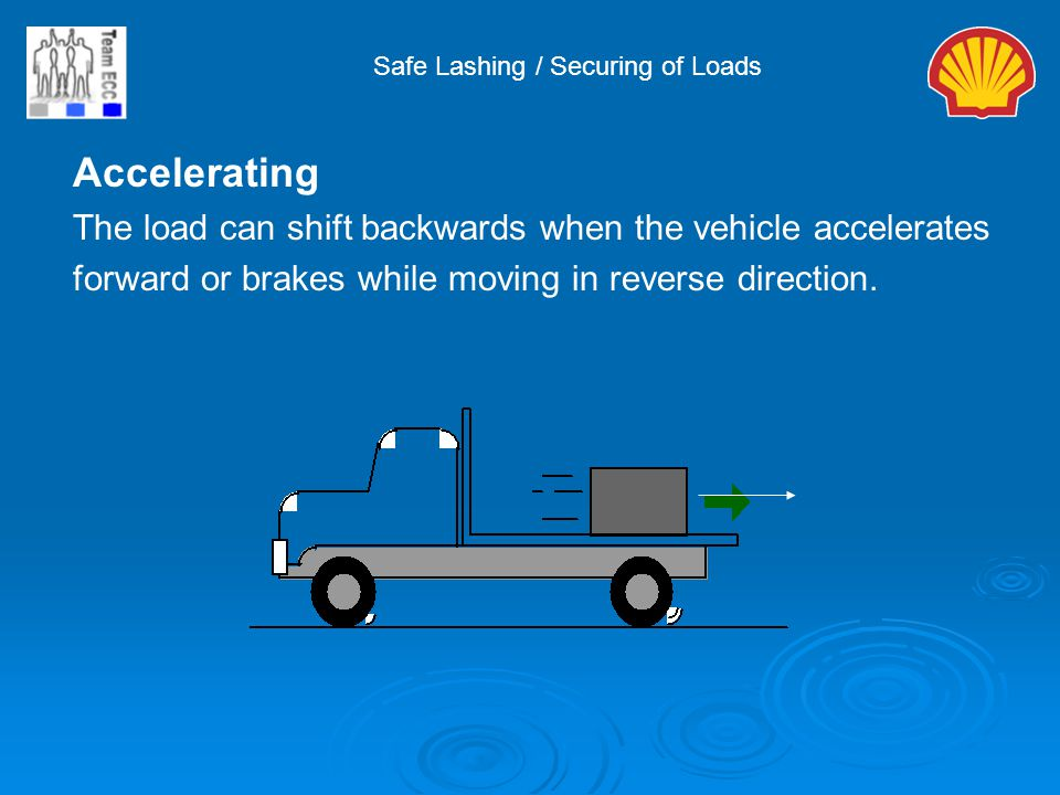 Accelerating The load can shift backwards when the vehicle accelerates