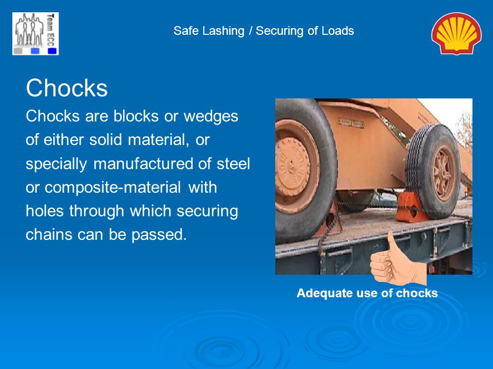 Chocks Chocks are blocks or wedges of either solid material, or