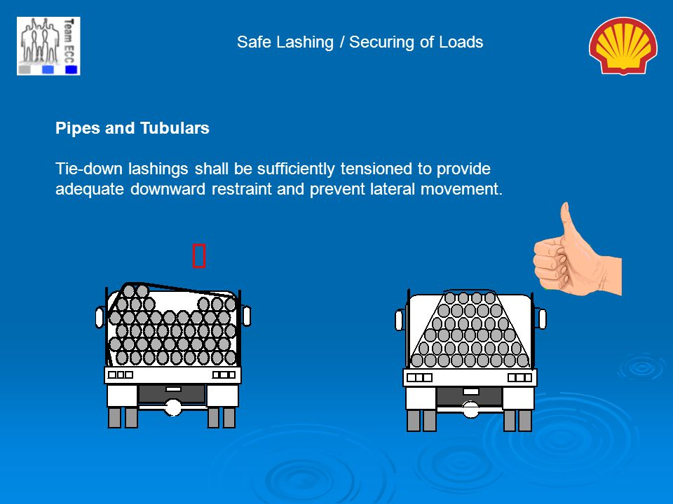 ý Safe Lashing / Securing of Loads Pipes and Tubulars