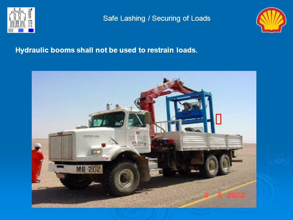 ý Safe Lashing / Securing of Loads