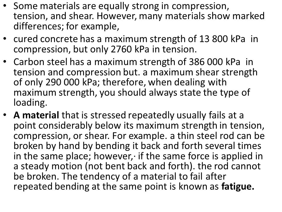 Some materials are equally strong in compression, tension, and shear