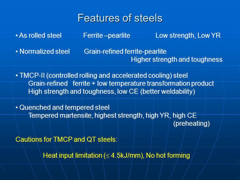 Features of steels As rolled steel Ferrite –pearlite Low strength, Low YR.
