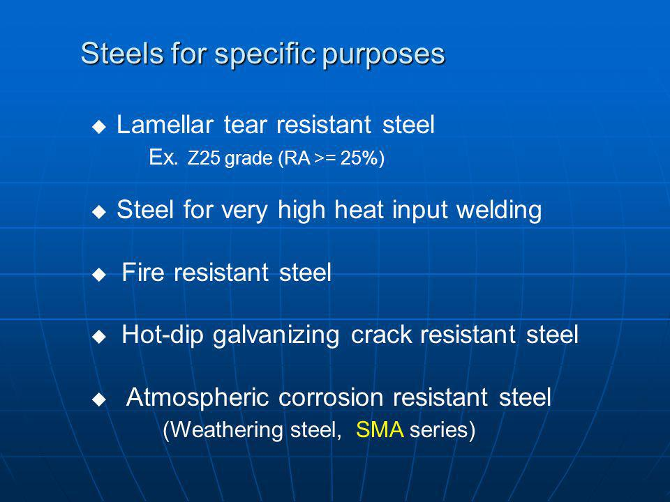 Steels for specific purposes