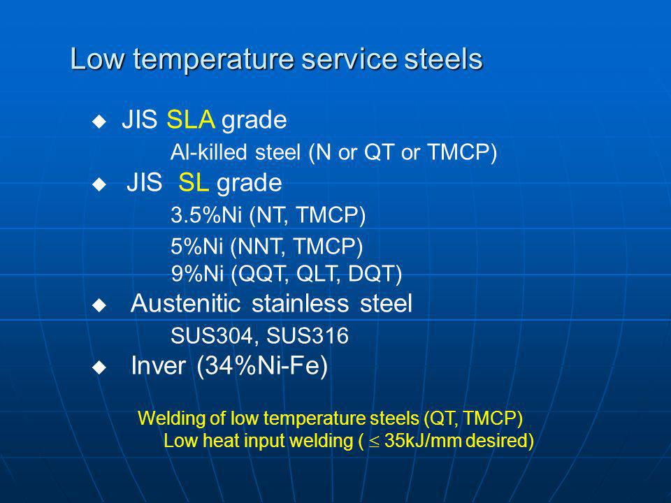 Low temperature service steels