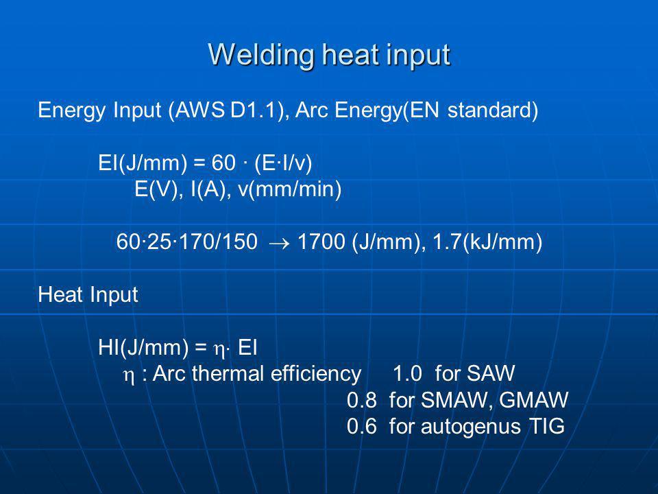 Welding heat input Energy Input (AWS D1.1), Arc Energy(EN standard)