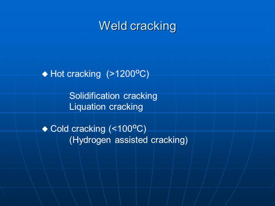 Weld cracking Solidification cracking Liquation cracking