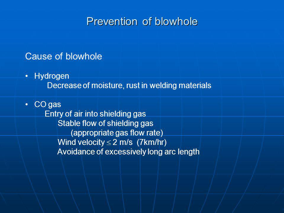 Prevention of blowhole
