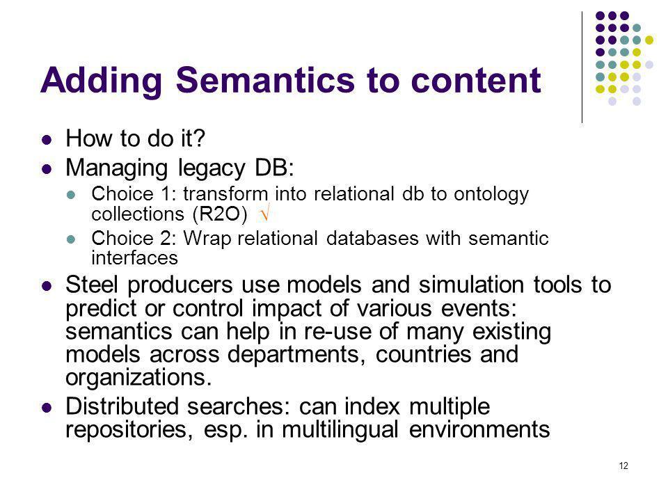 Adding Semantics to content