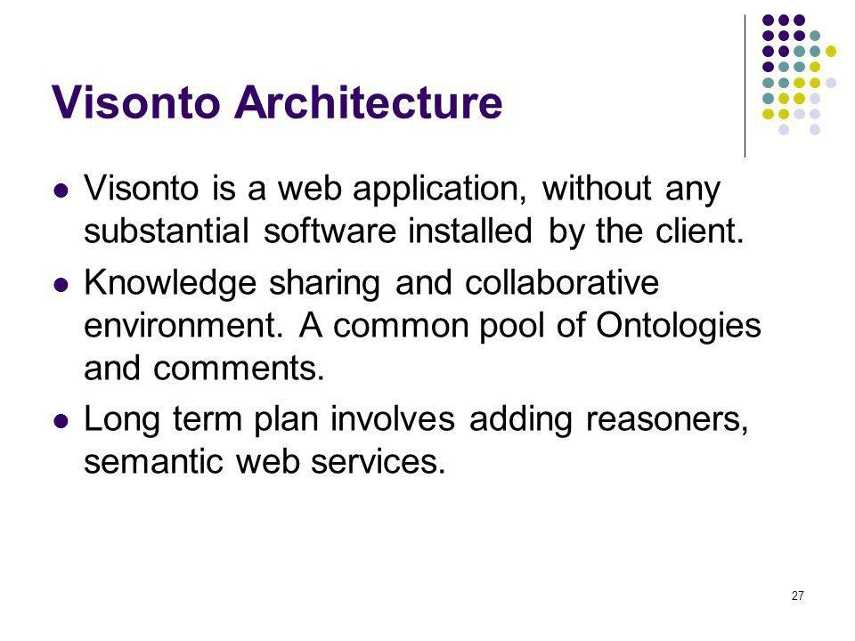 Visonto Architecture Visonto is a web application, without any substantial software installed by the client.