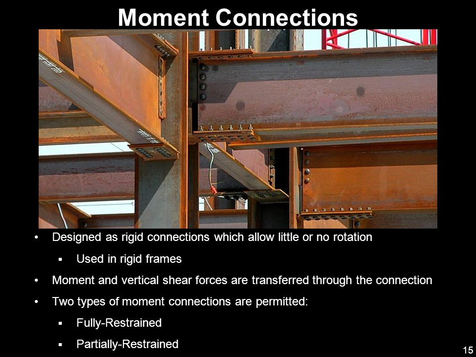 Moment Connections Designed as rigid connections which allow little or no rotation. Used in rigid frames.