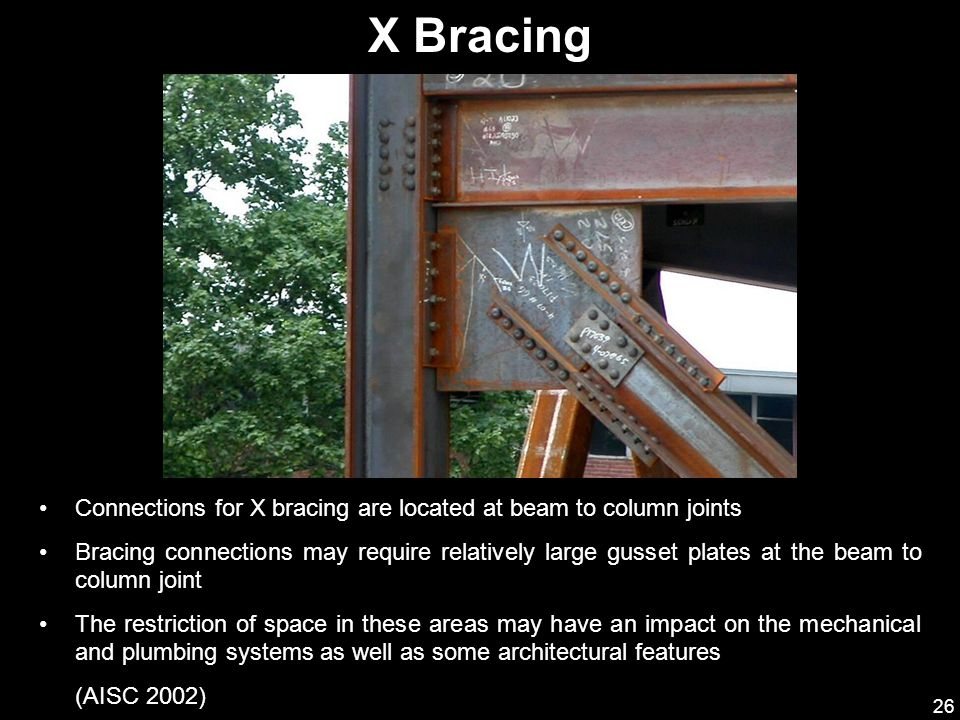 X Bracing Connections for X bracing are located at beam to column joints.