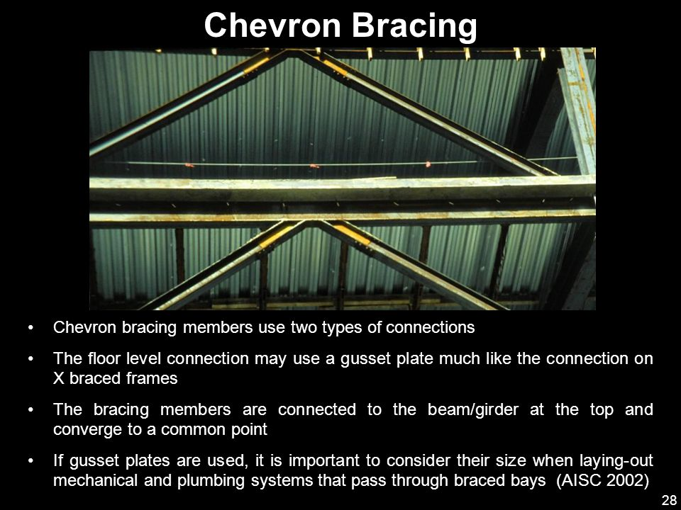 Chevron Bracing Chevron bracing members use two types of connections