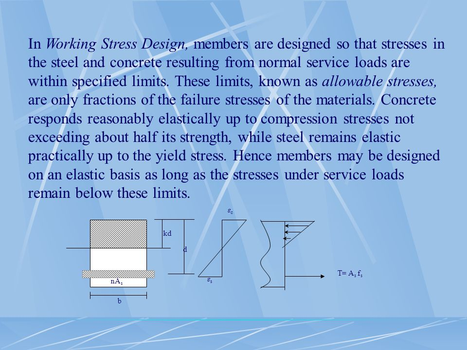 In Working Stress Design, members are designed so that stresses in the steel and concrete resulting from normal service loads are within specified limits. These limits, known as allowable stresses, are only fractions of the failure stresses of the materials. Concrete responds reasonably elastically up to compression stresses not exceeding about half its strength, while steel remains elastic practically up to the yield stress. Hence members may be designed on an elastic basis as long as the stresses under service loads remain below these limits.
