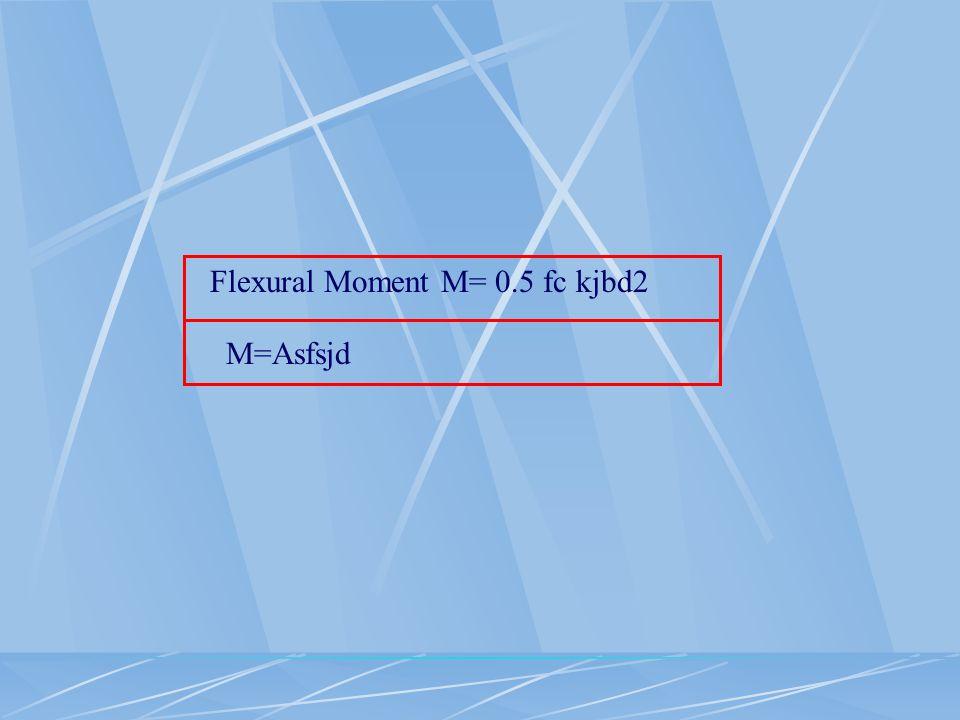 Flexural Moment M= 0.5 fc kjbd2