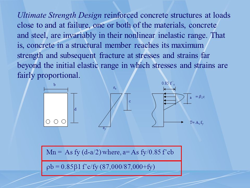 Ultimate Strength Design reinforced concrete structures at loads close to and at failure, one or both of the materials, concrete and steel, are invariably in their nonlinear inelastic range. That is, concrete in a structural member reaches its maximum strength and subsequent fracture at stresses and strains far beyond the initial elastic range in which stresses and strains are fairly proportional.