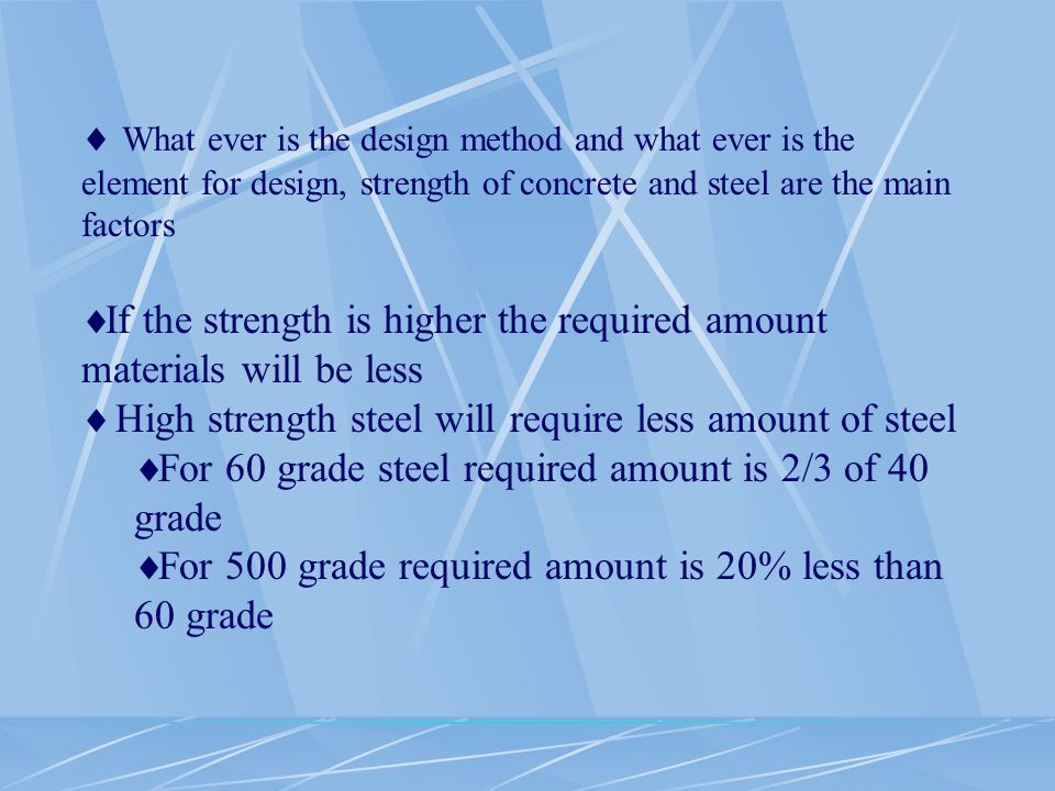  What ever is the design method and what ever is the element for design, strength of concrete and steel are the main factors